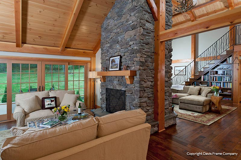 Cozy Timber Frame Great Room