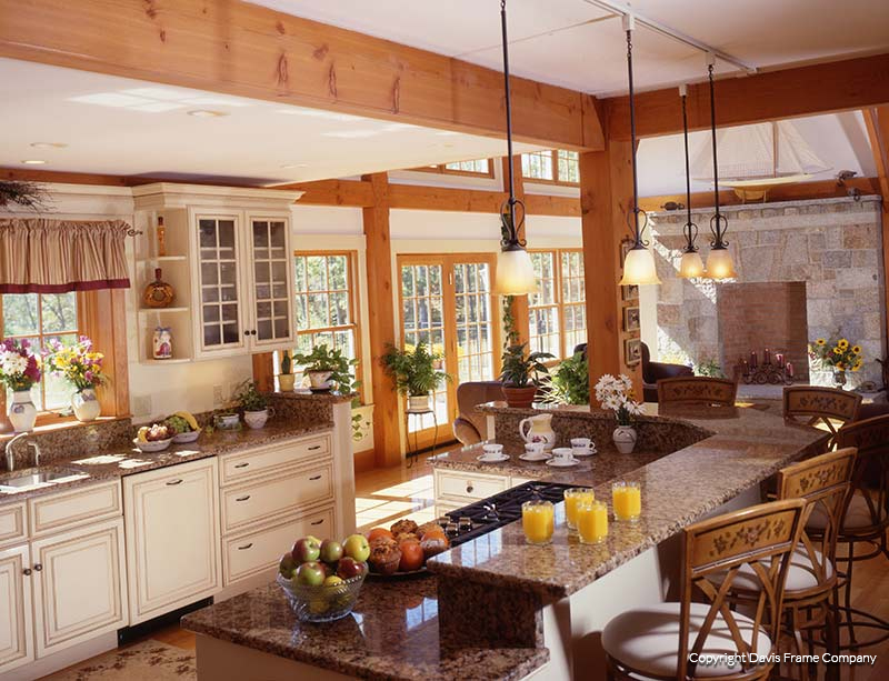 High Quality Country Post And Beam Kitchen. Mountainside Timber Frame Kitchen