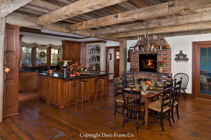 timber frame kitchen with fireplace