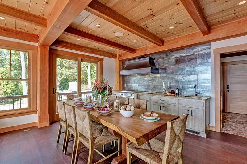 timber frame dining room