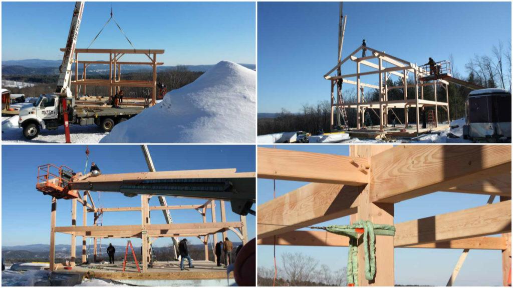 timber frame raising in vermont