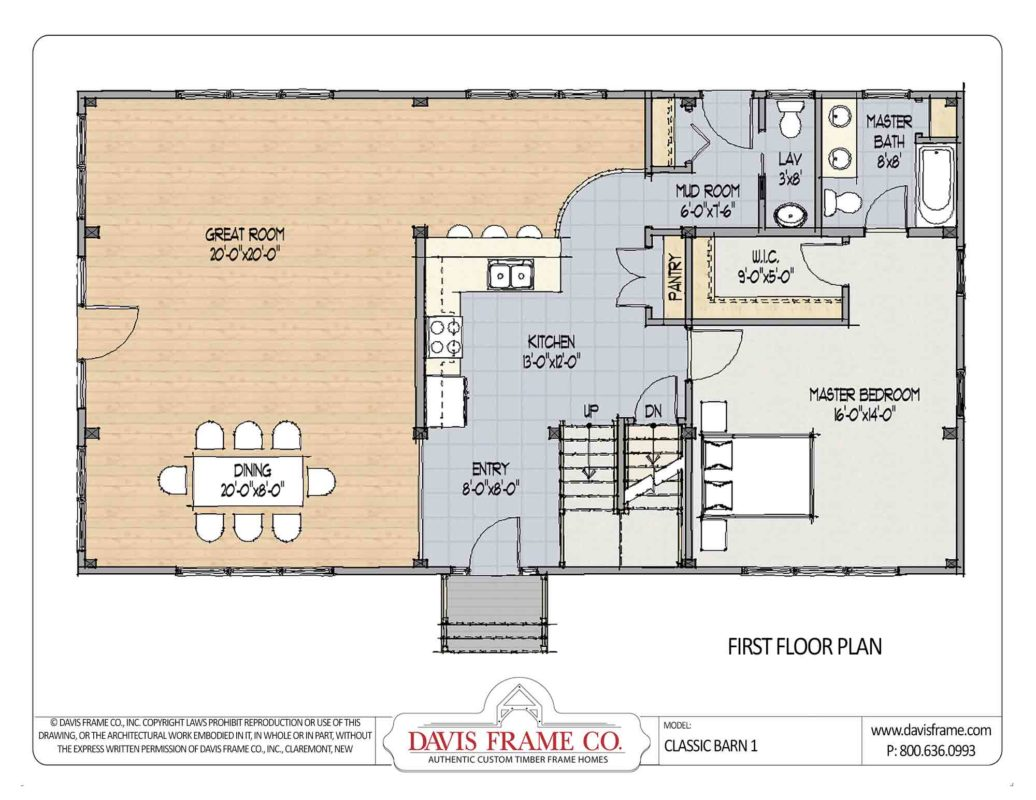 Class barn 1 timber frame barn home plans from davis frame for Barn floor plan