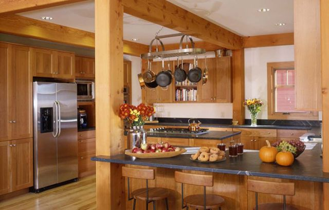 G shaped timber frame kitchen