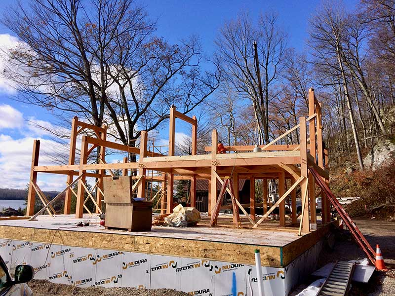 Lake Bonaparte New York Timber Frame Home Under Construction