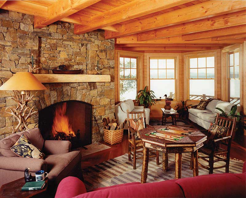lakeside timber frame with fireplace