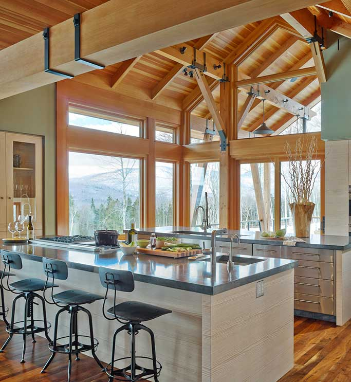 Mountain Modern Timber Frame Kitchen