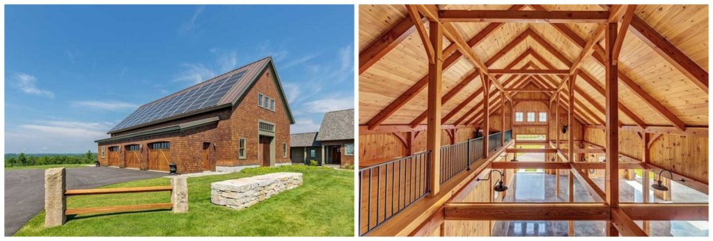 timber frame barn and garage in new hampshire