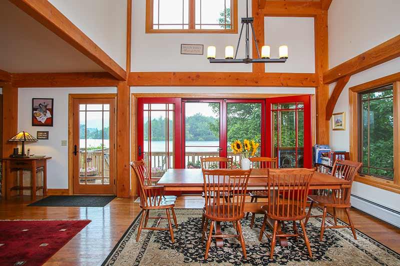 Summer lakeside timber frame living