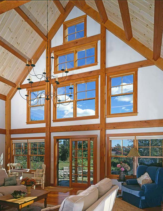 marthas vineyard timber frame great room