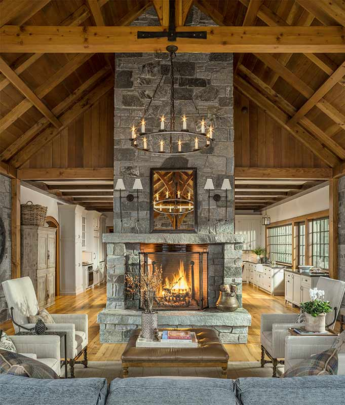 timber frame great room vermont