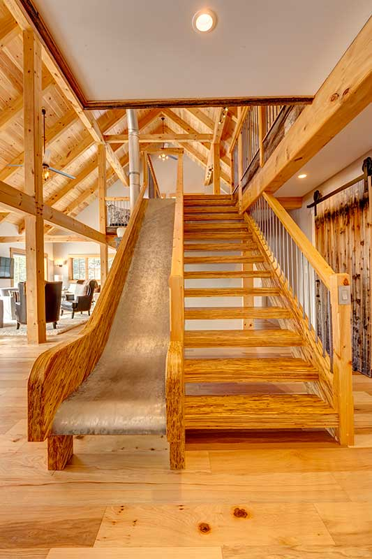timber frame home with slide