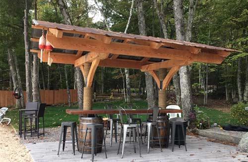 timber frame tiki bar