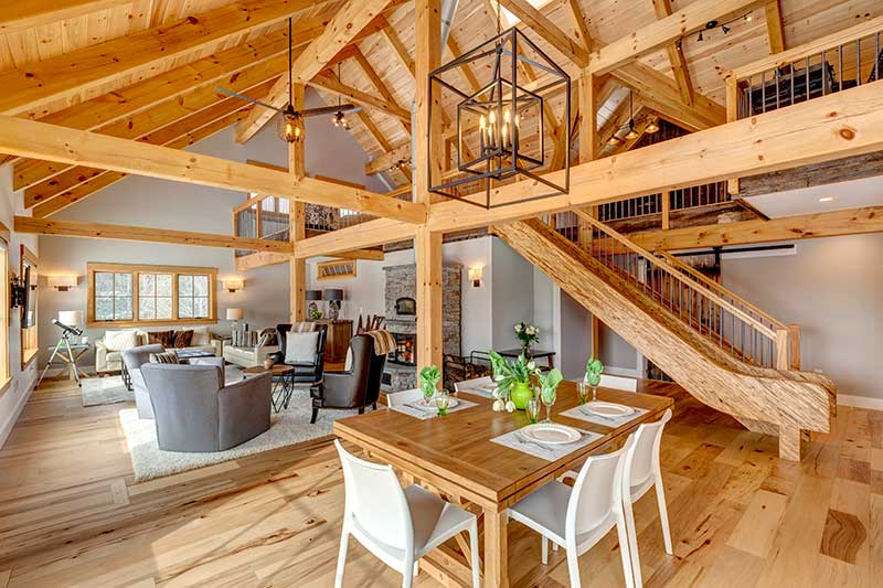 timber frame home with open floor plan