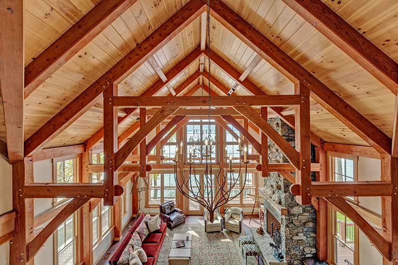 timber frame great room with trusses