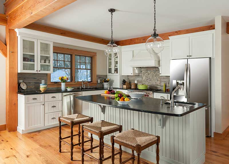vermont timber frame home kitchen