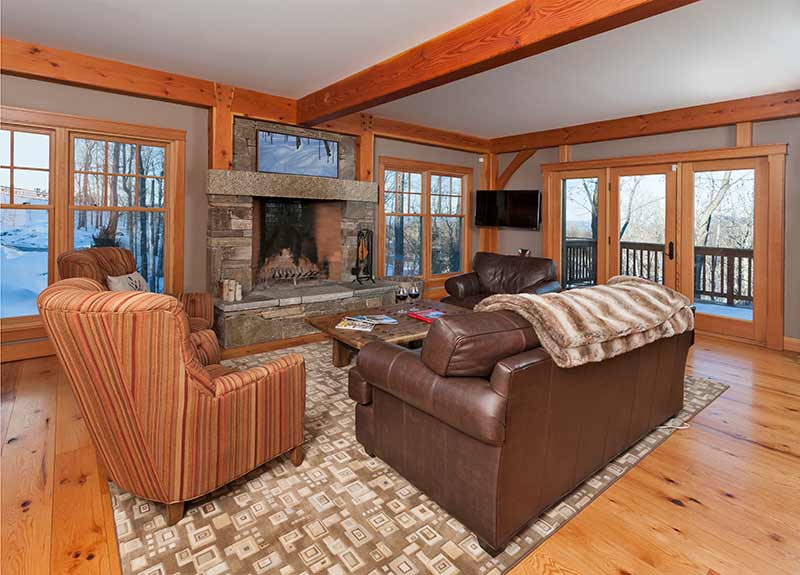 timber frame home living room