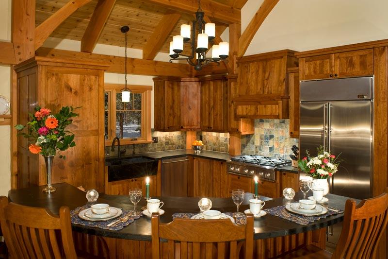 colorado timber frame kitchen