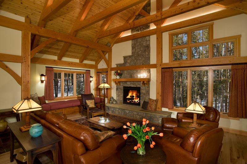 timber frame great room in colorado
