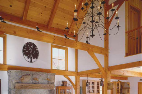 Classic barn timber frame great room