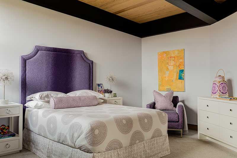 Mountain modern timber frame bedroom