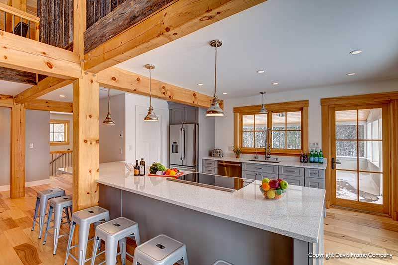 vermont barn home kitchen with gray cabinets