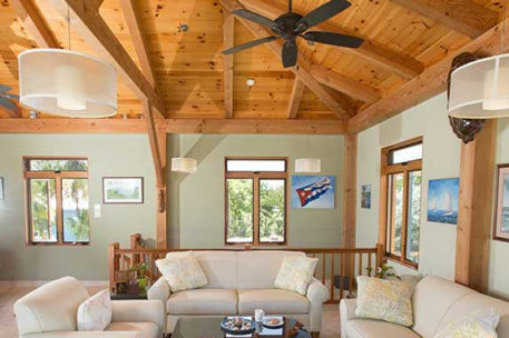 Grand Cayman timber frame great room