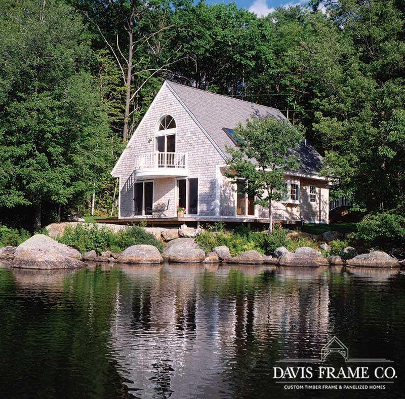 Small lakeside timber frame home