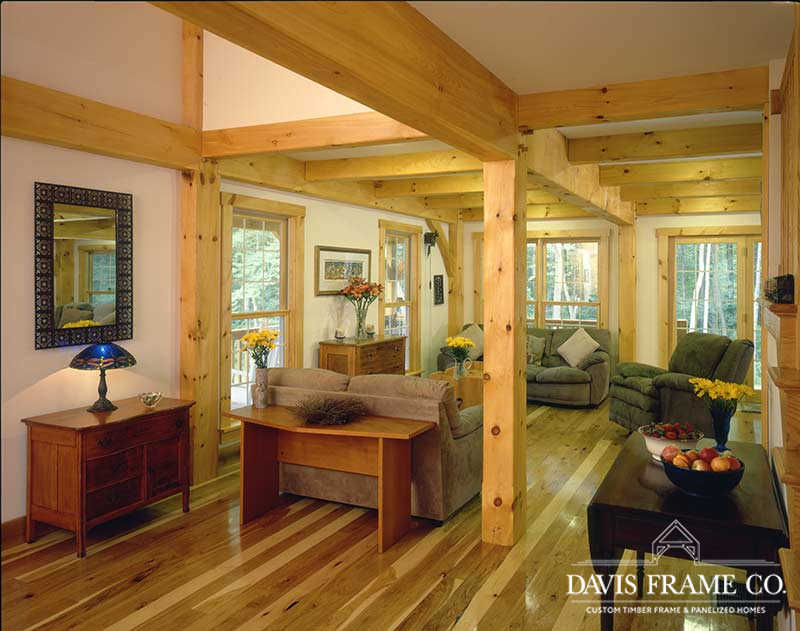 Classic farmhouse timber frame living room