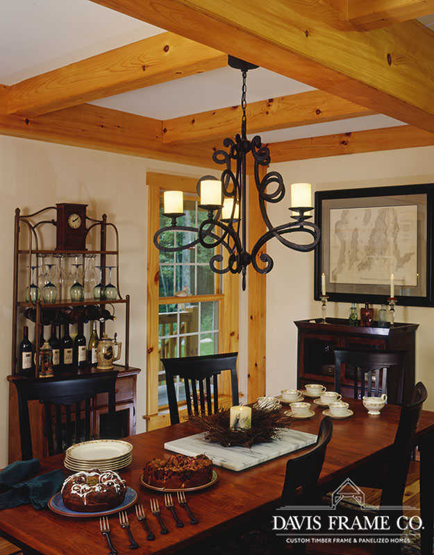 Classic farmhouse timber frame dining room