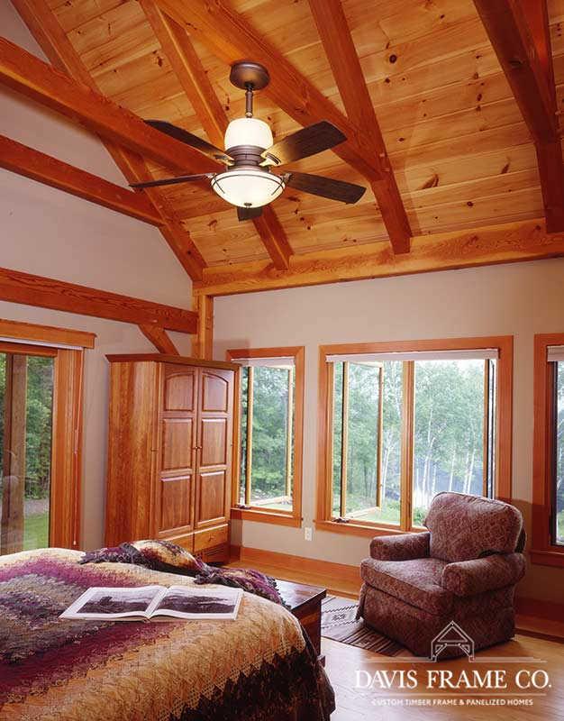 Cathedral timber frame bedroom