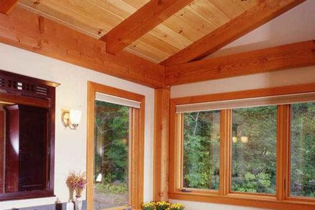 Vermont timber frame home bathroom
