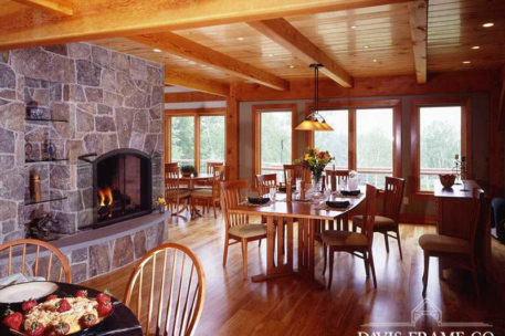 Vermont timber frame home dining room