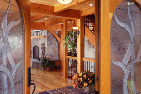 Vermont timber frame home entry
