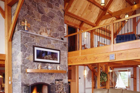 Vermont timber frame home great room