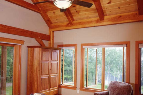 Vermont timber frame home bedroom
