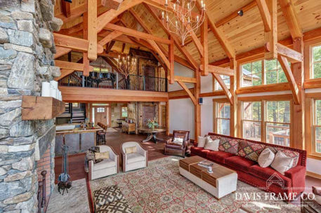Lake Winnipesaukee timber frame great room