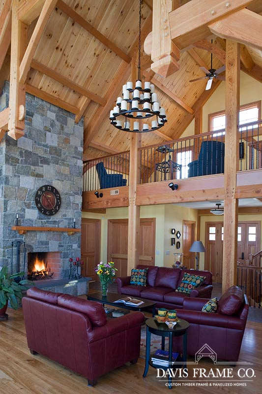 Lake Mascoma Timber Frame Home great room