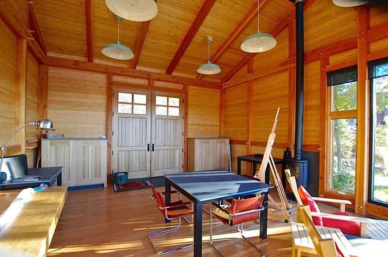 modern timber frame studio in vermont