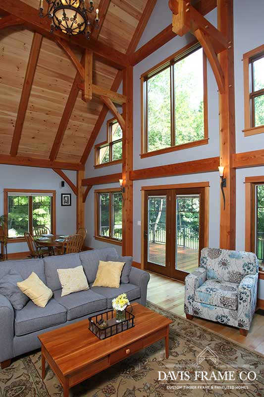 Small craftsman timber frame home great room