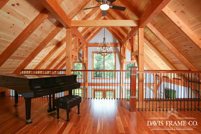 Small craftsman timber frame home loft