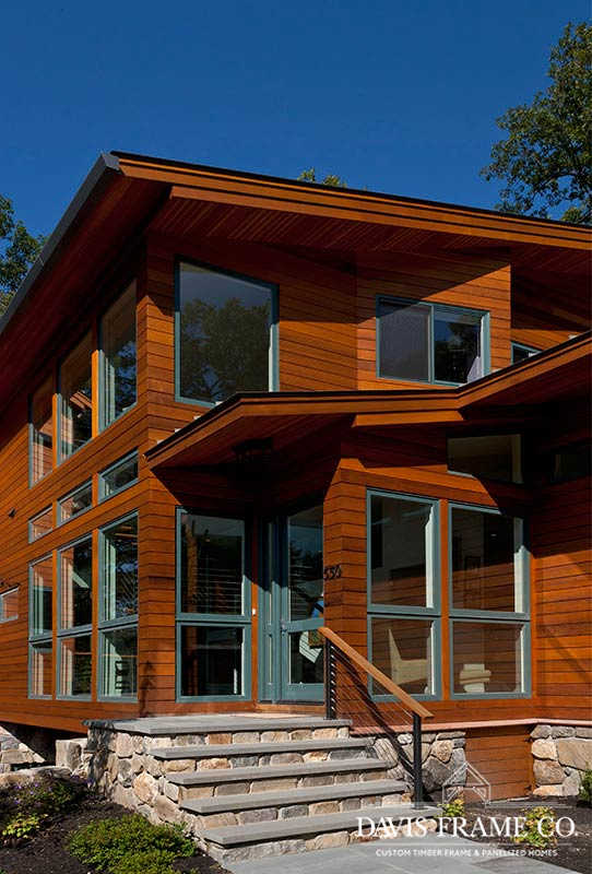 Modern panelized home in suburban Boston