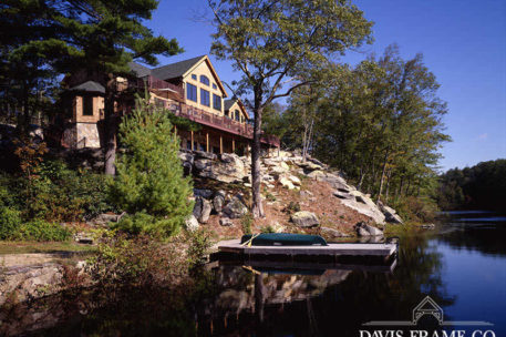 Waterfront timber frame home