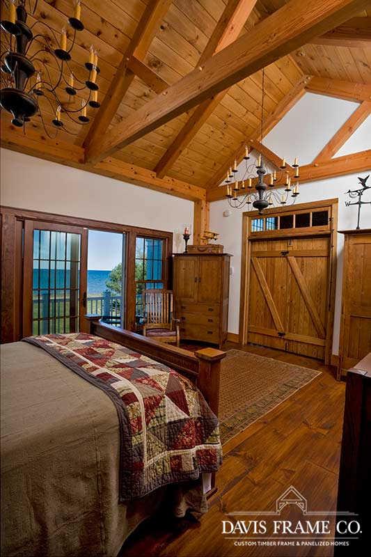 Lake Ontario timber frame bedroom