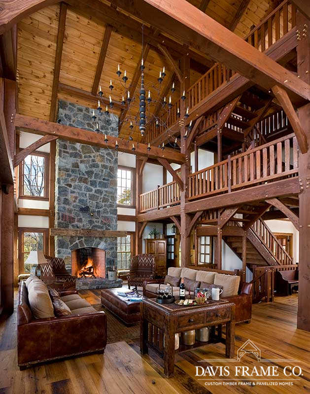 Lake Ontario timber frame great room