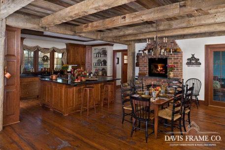 Lake Ontario Timber Frame Home reclaimed wood kitchen