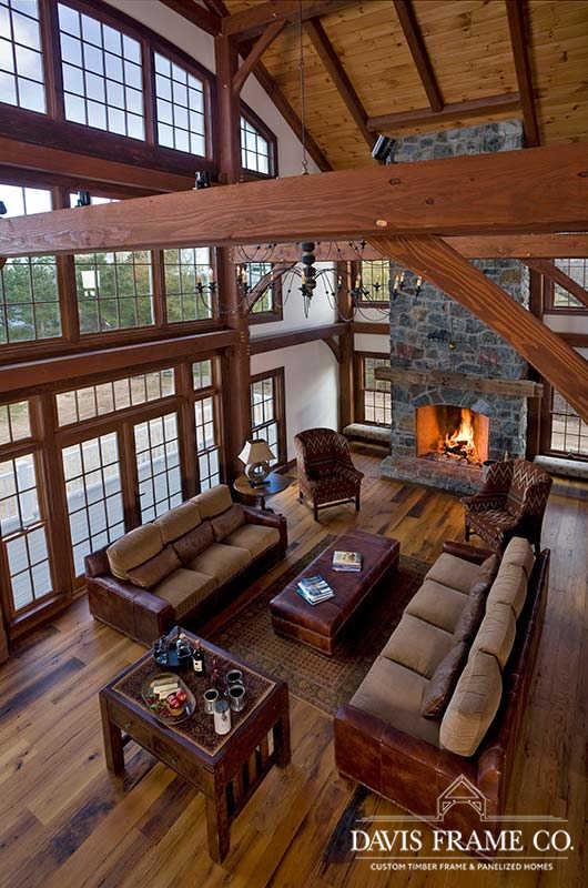 Lake Ontario Timber Frame Home great room