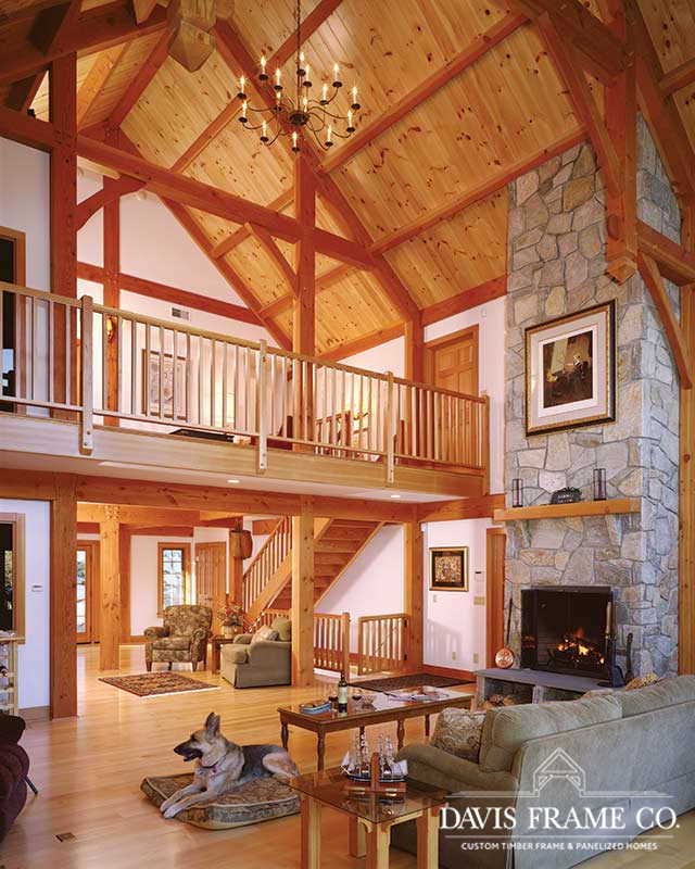 Rustic timber frame great room