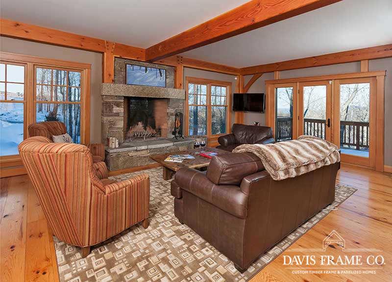 Mountainside timber frame living room