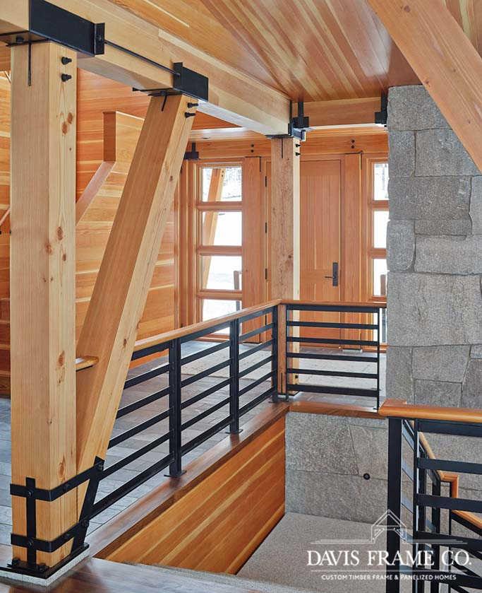 Stowe Vermont modern timber frame ski house entry