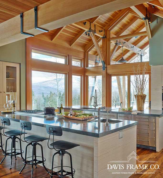 Stowe Vermont modern timber frame ski house kitchen